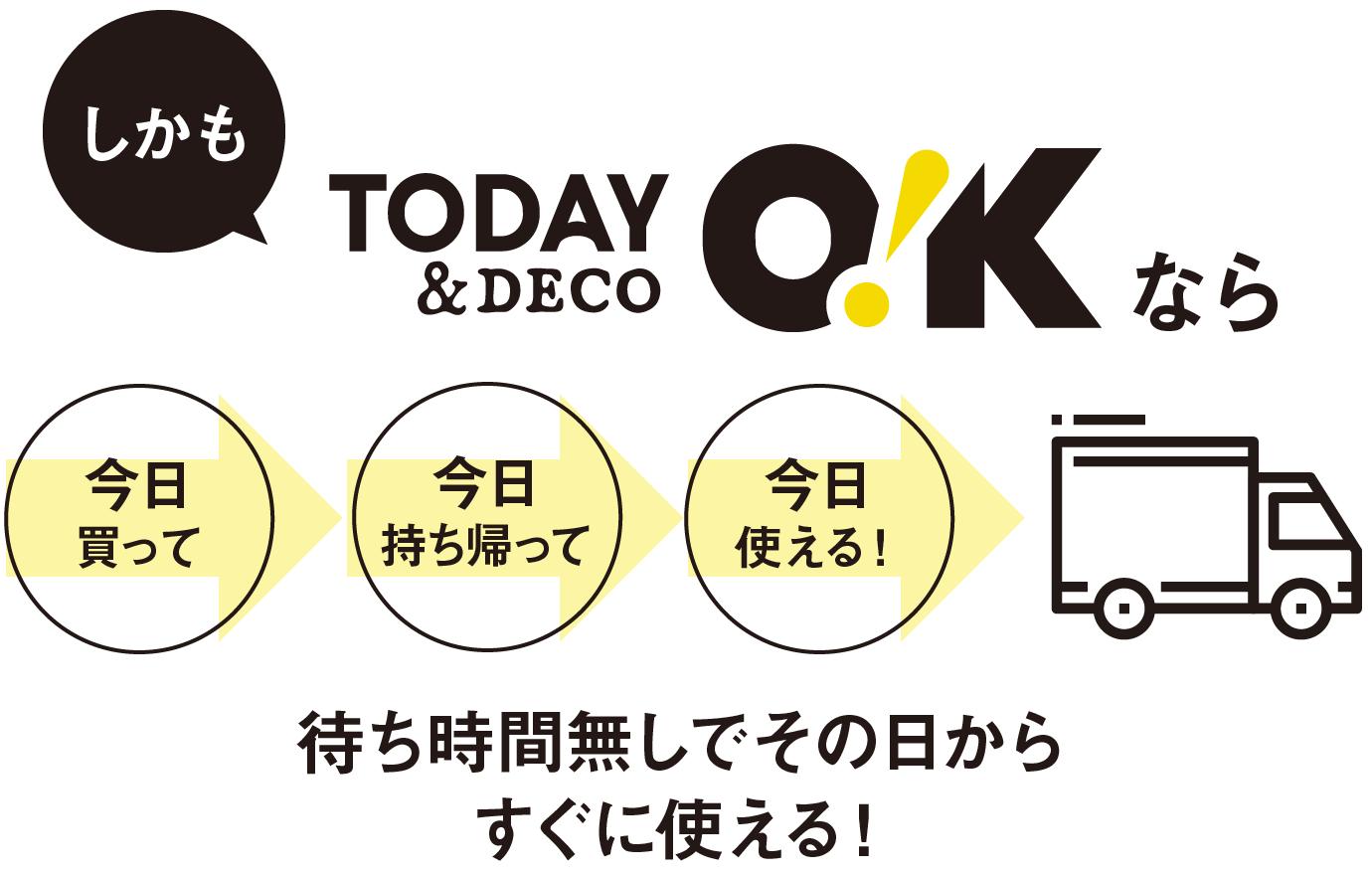 しかもTODAY O!K & DECOなら!今日買って持ち帰って使える!待ち時間無しでその日からすぐに使える!