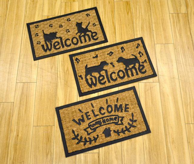 玄関をオシャレに可愛く!天然素材のコイヤー(ヤシ)の繊維を使用した玄関マット!丈夫で水はけも良く泥や汚れの侵入を防いで玄関をキレイに保ちます。
