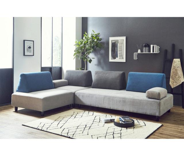 背クッションと肘置き、ソファが自由に動かせるアレンジソファ!L字型や2人掛け、3人掛け、簡易ベッドと組み合わせ次第でいろいろ変形できるので、シーンに合わせて使えます!