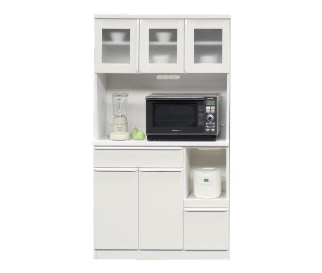 ホワイトカラーで清潔感のある食器棚!オープン部に調理家電を置いてキッチン作業効率アップ!収納力抜群で2~3人暮らしで迷ったらコレ!