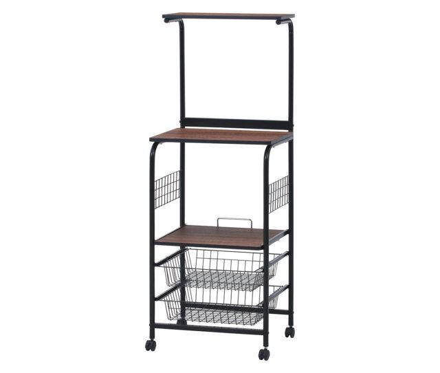 スペースが限られたキッチンにも置きやすいスリムなデザインのキッチンワゴン!レンジや炊飯器の収納はもちろん、下段にはスライド式の棚板とバスケット2杯付きで、小物や食品ストックもまとめて収納できます。