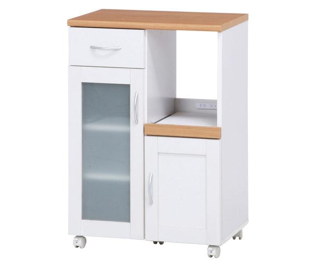 幅60cmのシンプルデザインで置きやすいキッチンカウンター!キッチン周りをすっきりできる収納スペースはもちろん、調理補助台としても◎サッと引き出して使えるスライドテーブルはレンジや炊飯器の収納に。コンセントやキャスターなど、あると便利な機能がしっかり揃ったアイテムです。