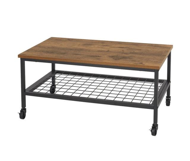 黒のスチールとブラウンの木棚を組み合わせた男前インテリアにピッタリなセンターテーブル!天板の下にはメッシュ棚があり、雑誌や小物などが置けるので便利です。キャスター付で移動もラクラク♪テレビボードとしても◎