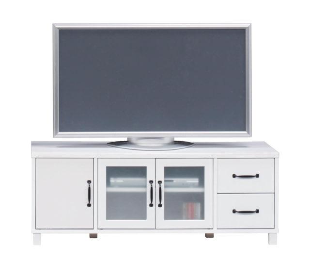 シンプルで可愛くてお買い得なTVボード!爽やかなホワイトカラーでお部屋を明るくスッキリ!収納もたっぷりでテレビ周りも片付きます♪ガラスは擦りガラス調のフィルムガラスは飛散防止にもなり安心安全。