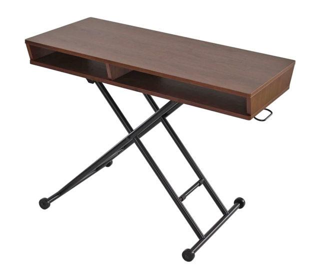 ガス圧で高さが無段階調節可能な昇降テーブル!天板下にオープン収納スペースがあるので、お部屋スッキリ出し入れラクラク♪さらに足元はキャスター付きで移動もラクラク♪センターテーブルとしても臨時的なデスクワークにも◎